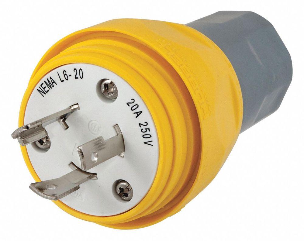 medium resolution of hubbell wiring device kellems 20a industrial grade non shrouded watertight locking plug yellow nema configuration l6 20p 39aw33 hbl26w48 grainger