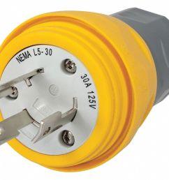 hubbell wiring device kellems 30a industrial grade non shrouded watertight locking plug yellow nema configuration l5 30p 39aw46 hbl28w47 grainger [ 1125 x 921 Pixel ]