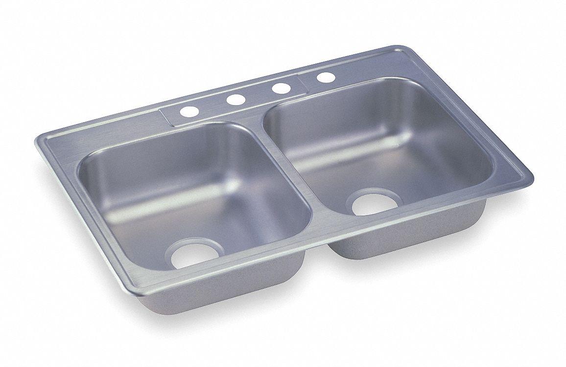 elkay dayton series 14 in x 15 3 4 in stainless steel equal double bowl drop in sink