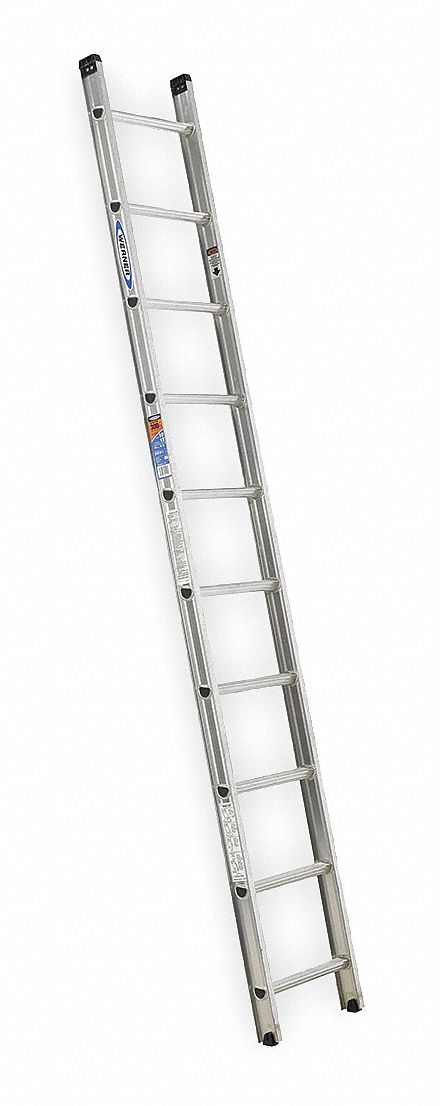 WERNER 10 ft. Aluminum Straight Ladder, 300 lb. Load