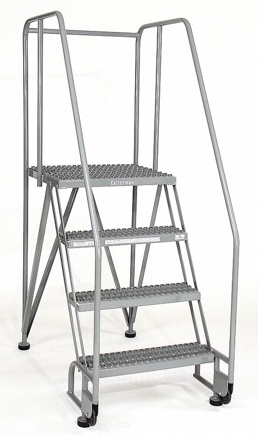 COTTERMAN 4-Step Tilt and Roll Ladder, Serrated Step Tread