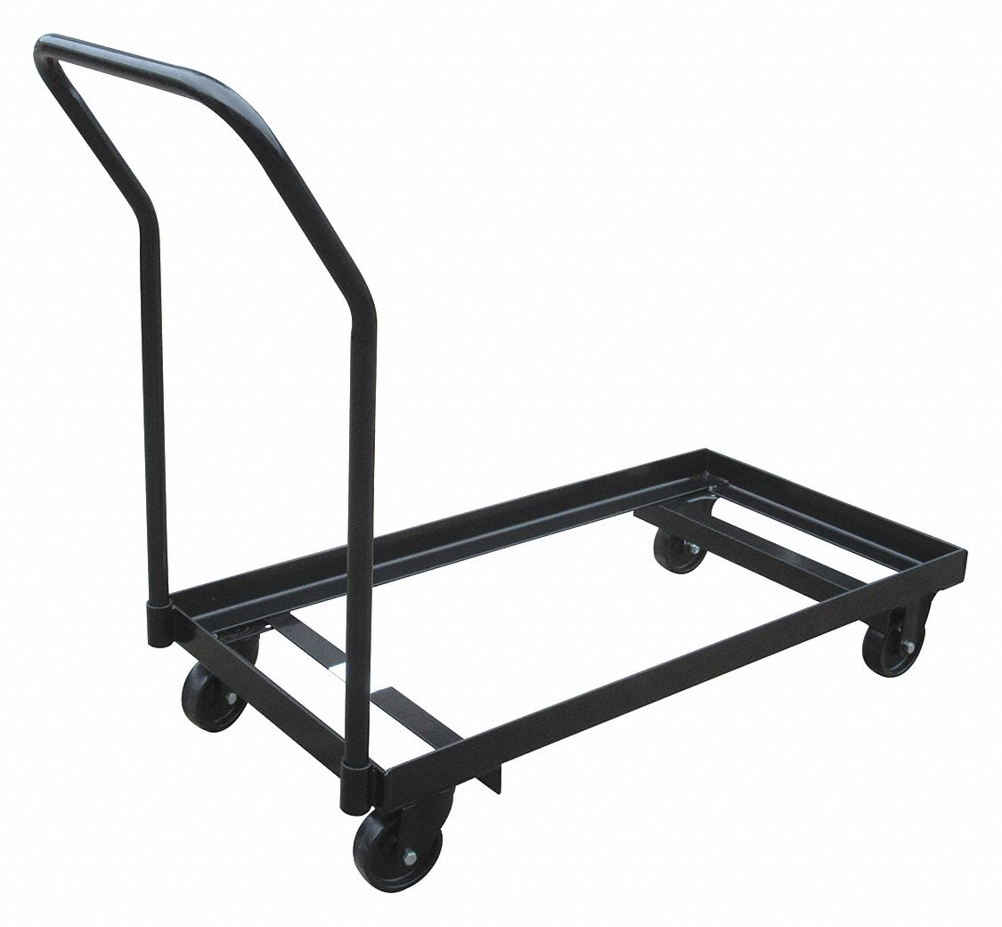 folding chair dolly grey fabric grainger approved 40 l x 19 w 35 h black 300 lb load capacity 3kyh4