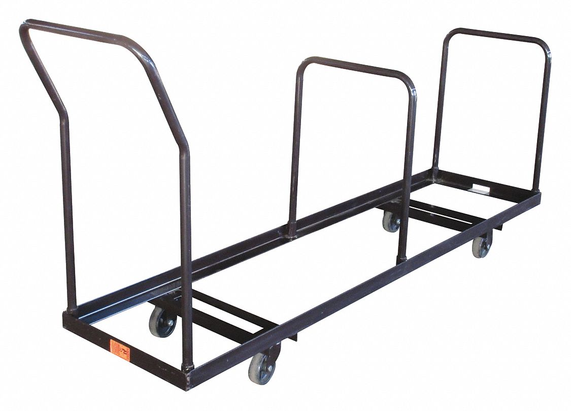 folding chair dolly tall office grainger approved 80 l x 19 w 38 h black 1000 lb load capacity 3kyh7