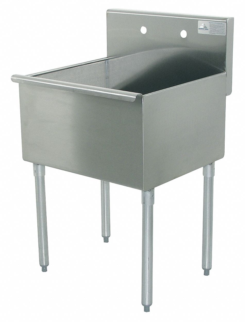 utility sink stainless steel 36 in overall length 24 1 2 in overall width 14 in bowl depth