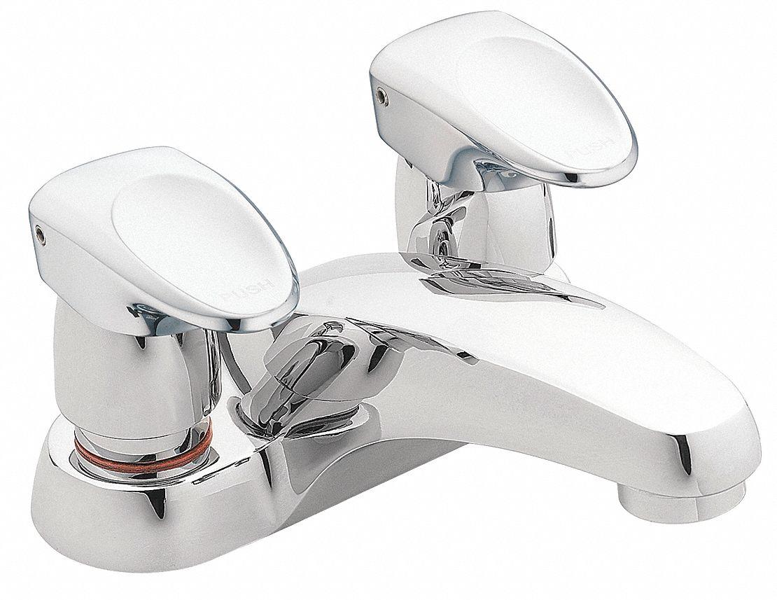 chrome low arc bathroom sink faucet manual faucet activation 0 5 gpm