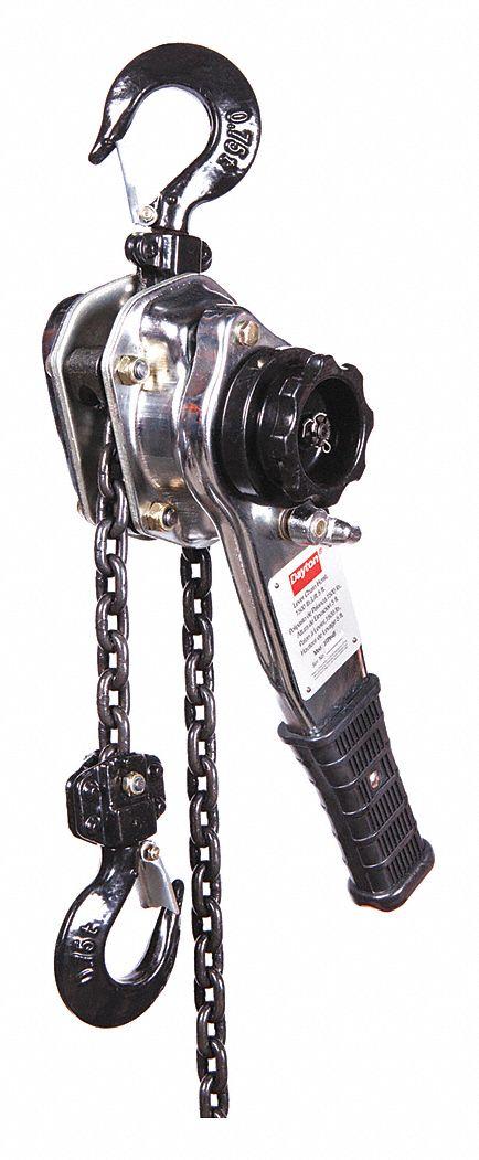 DAYTON Lever Chain Hoist, 1500 lb. Load Capacity, 5 ft