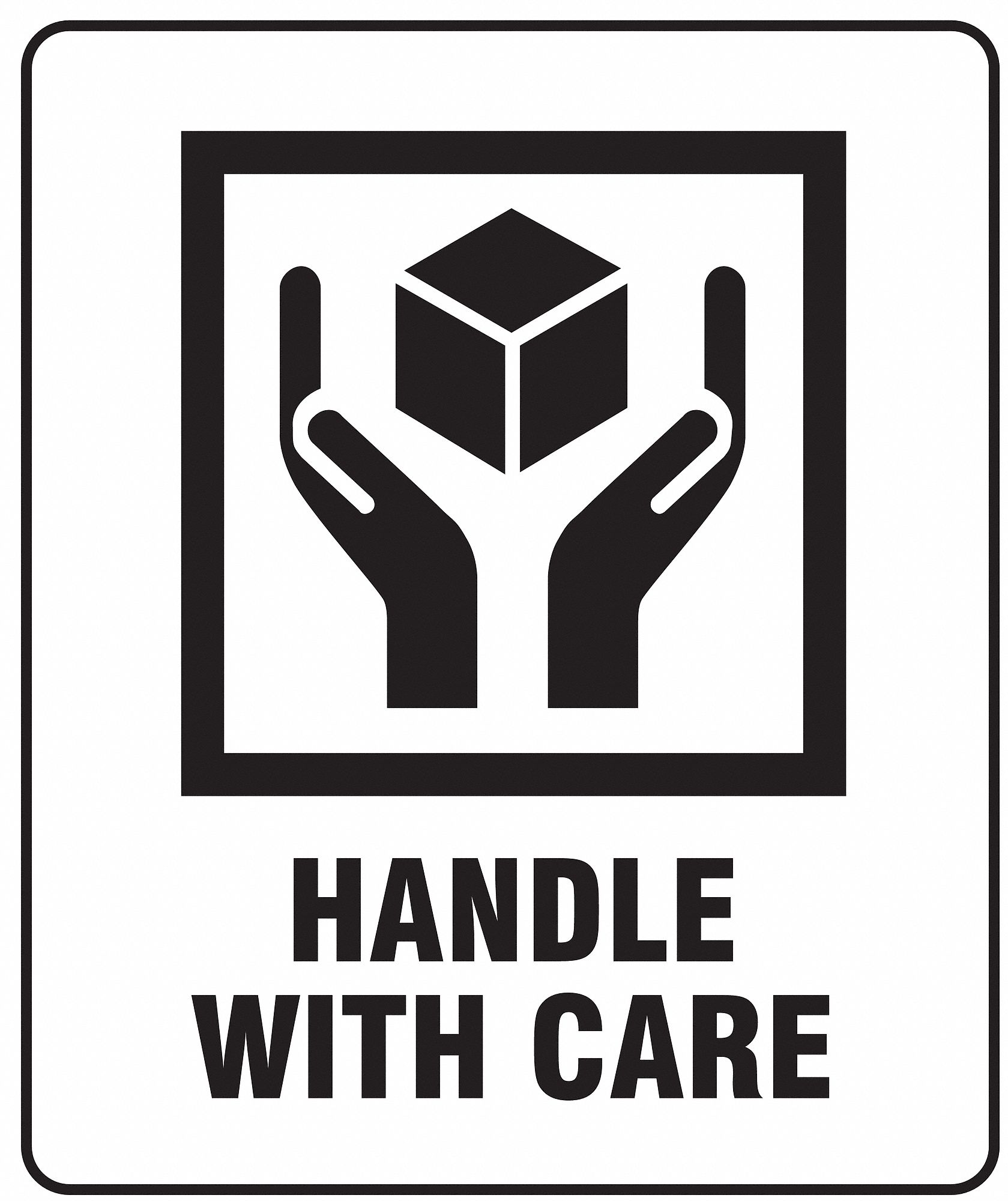 GRAINGER APPROVED Shipping Labels, Handle with Care, 3
