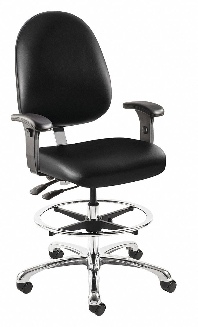 Task Chairs With Arms Black Vinyl Task Chair Arm Style Adjustable
