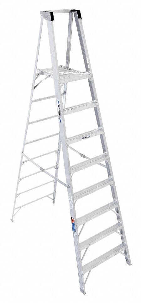 WERNER Aluminum Platform Stepladder, 10 ft. Ladder Height