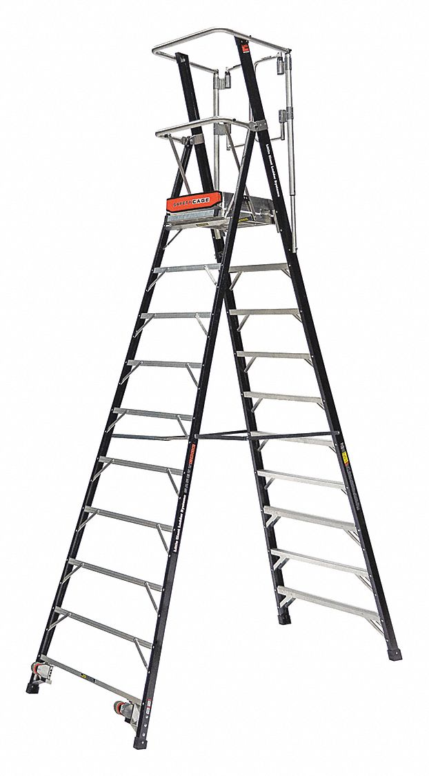 LITTLE GIANT Fiberglass Platform Stepladder, 10 ft. Ladder