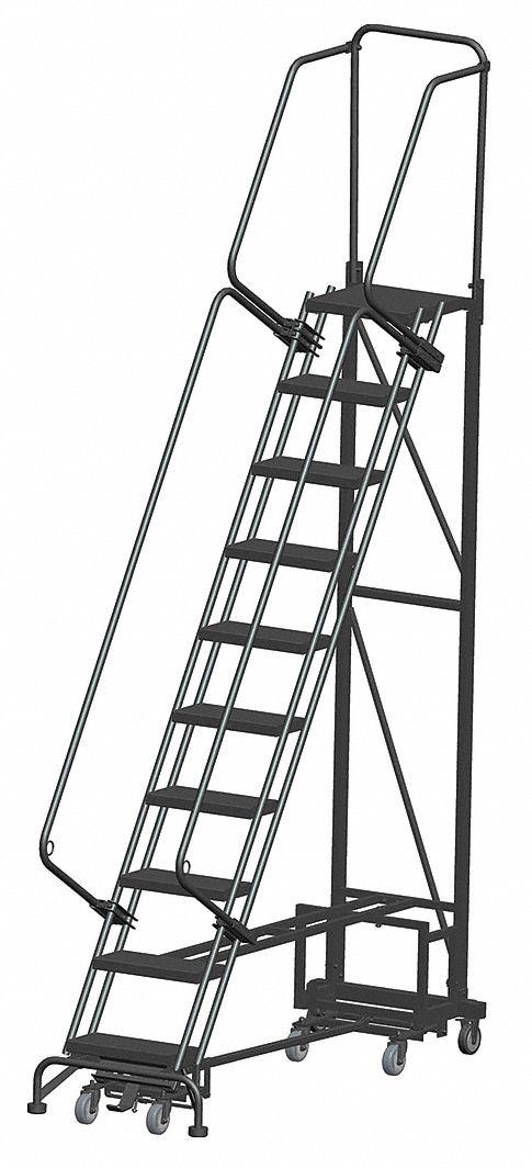 BALLYMORE 10-Step All Direction Ladder, Abrasive Mat Step