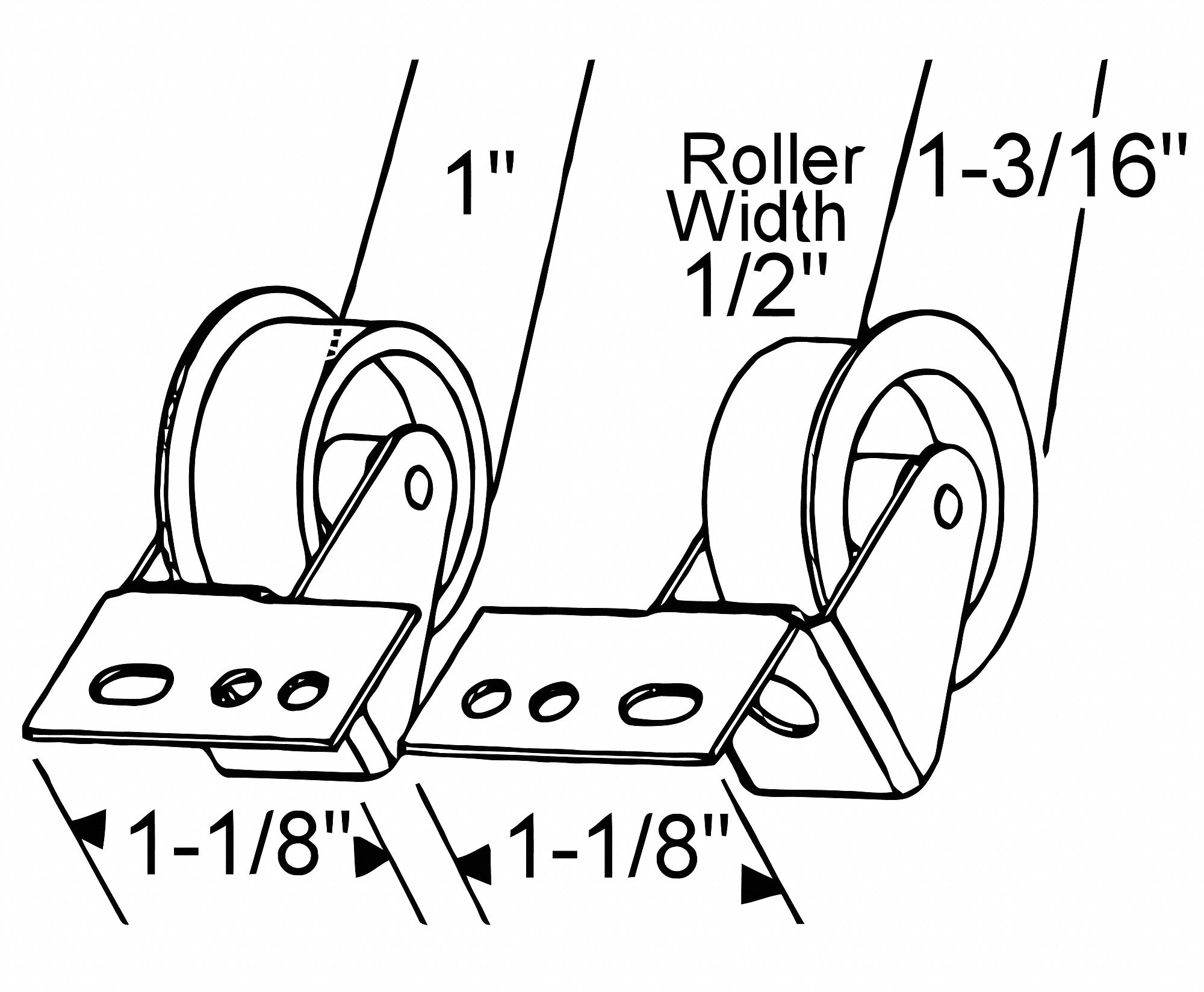 Bracket Drawer Front Roller Set, Non Disconnect