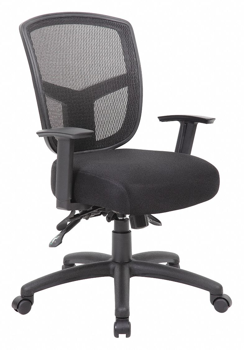 mesh task chair wedding decorations for church chairs grainger approved black 19 1 2 back height arm style adjustable 452r22
