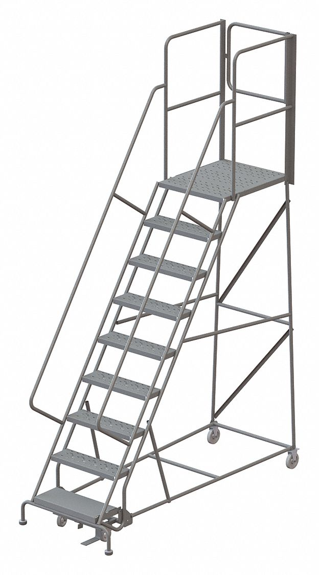 TRI-ARC 9-Step Rolling Ladder, Perforated Step Tread, 132