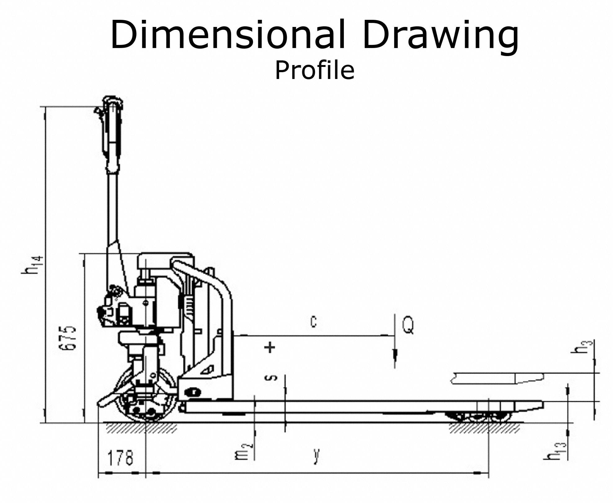 DAYTON Manual-Lift/Powered-Drive Pallet Jack, 3,300 lb