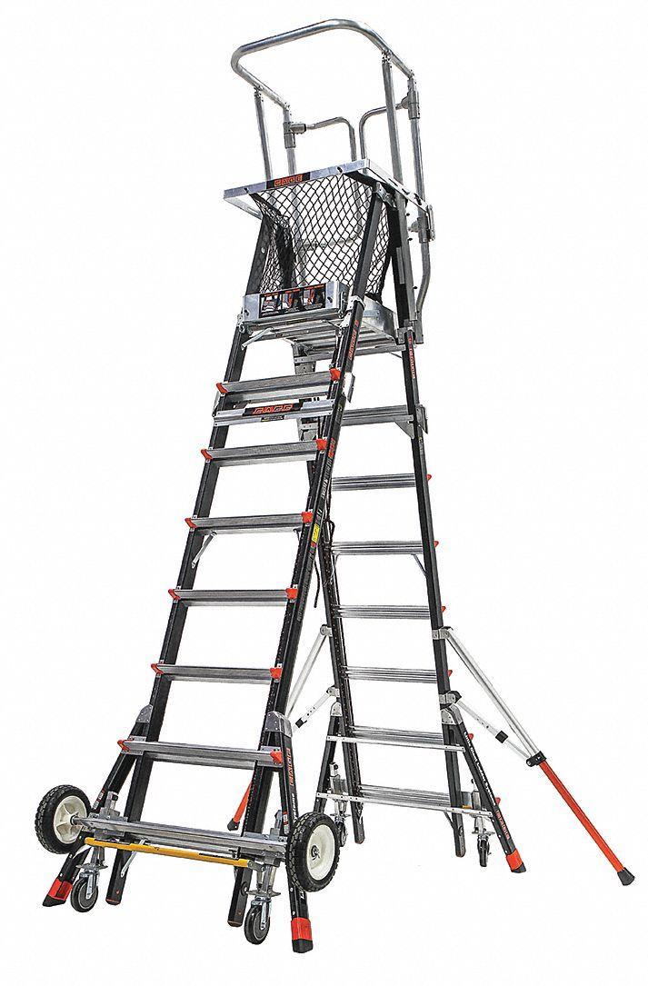LITTLE GIANT Fiberglass Safety Cage Platform Ladder, 8 to