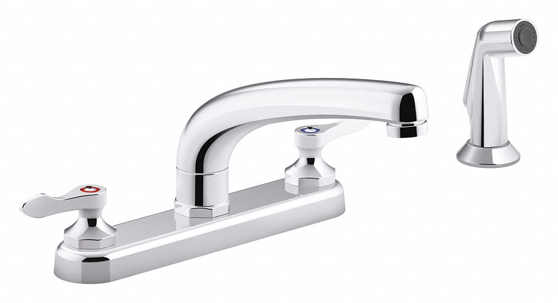 chrome low arc pull out kitchen sink faucet manual faucet activation 1 8 gpm