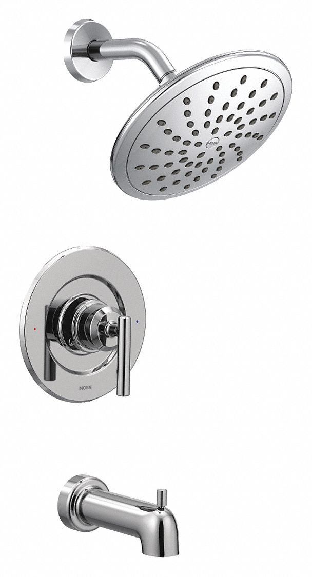 moen wall mounted tub and shower trim kit pull up diverter spout chrome
