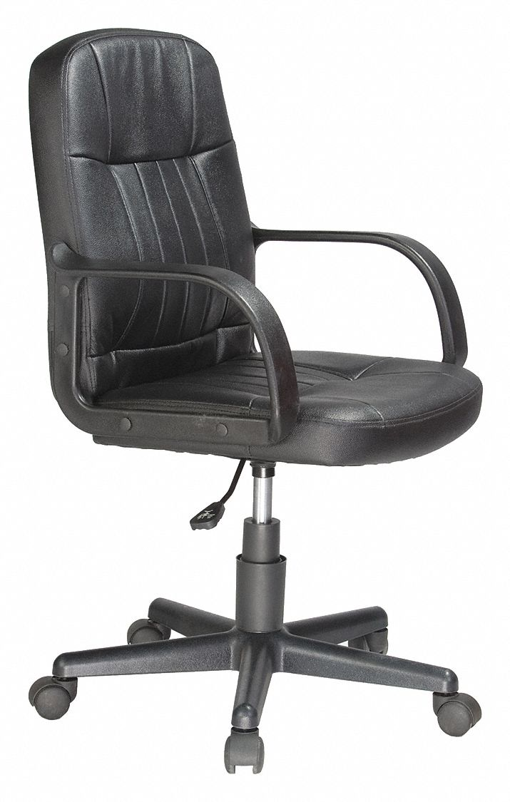black leather desk chairs chair covers with bows comfort products 20 back height arm style fixed 49nu54 60 5607m grainger