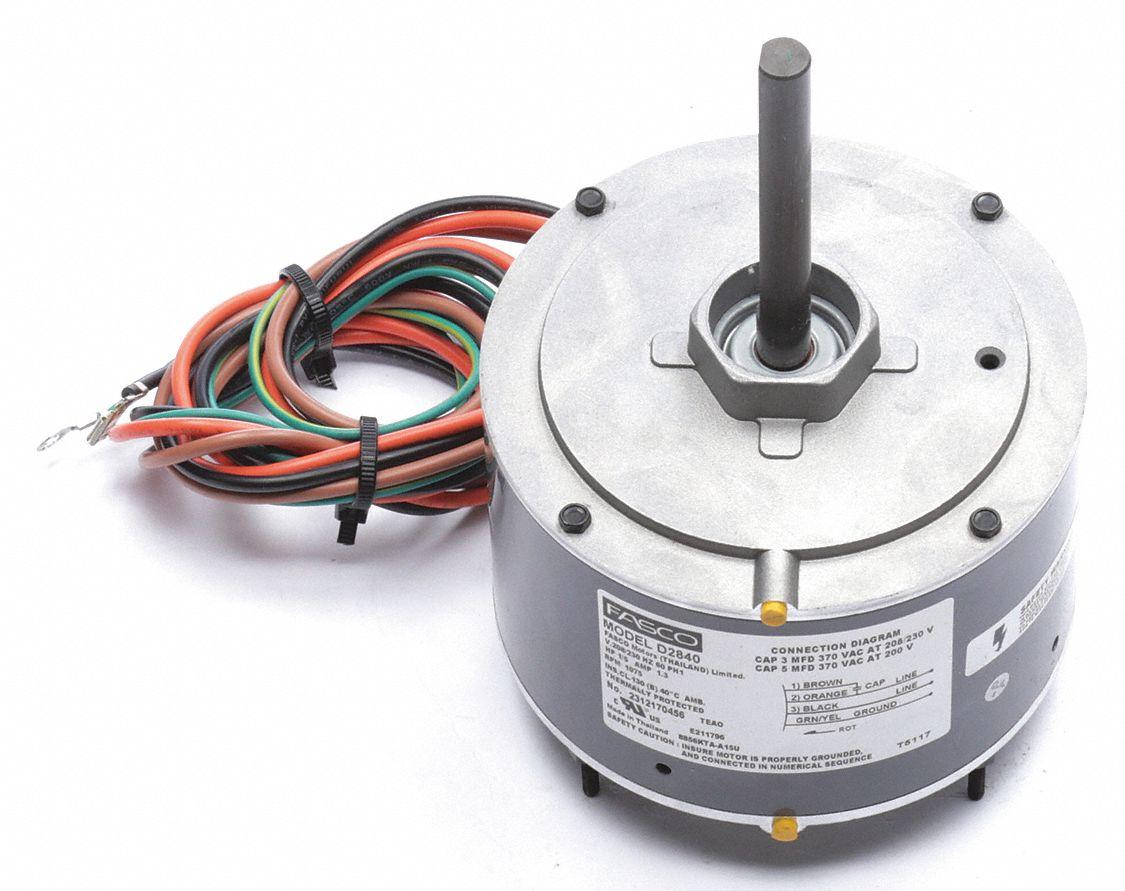 hight resolution of fasco permanent split capacitor condenser fan motor 1 5 hp 1001 1100 rpm range 208 230v cwse 49vt82 d2840 grainger