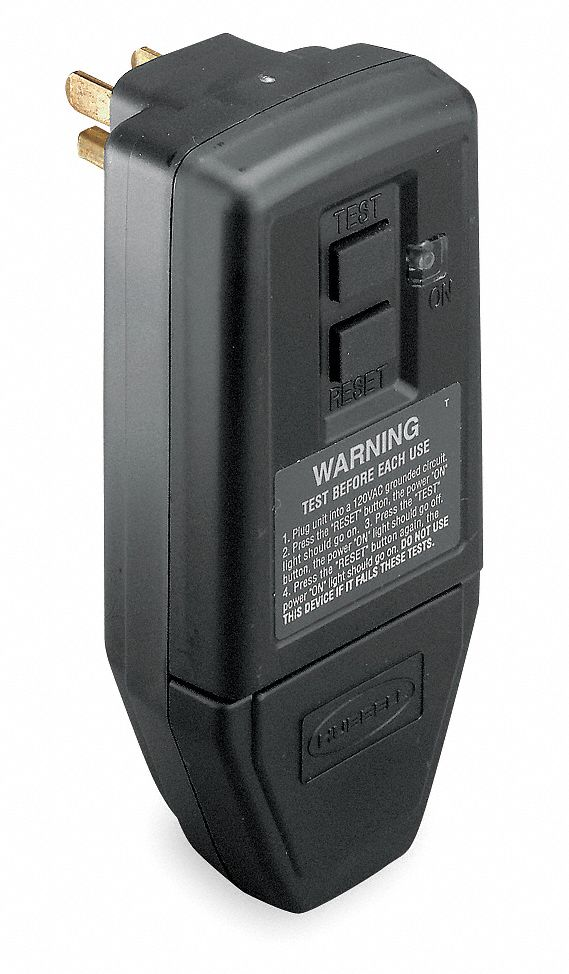 HUBBELL WIRING DEVICE-KELLEMS Plug-In GFCI.Blk.15A.5-15P.Indoor.120VAC - 4HD20|GFP5266C - Grainger