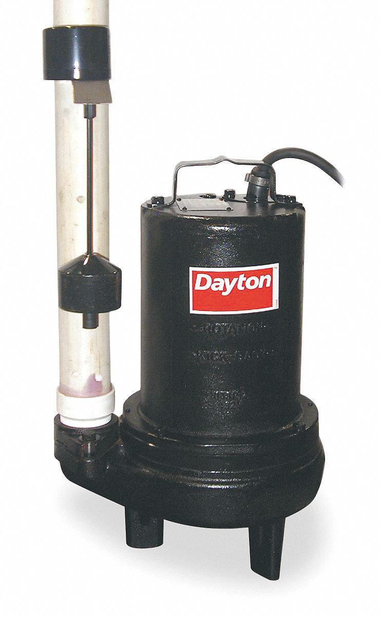 DAYTON 1 HP Automatic Submersible Sewage Pump 200 to 230