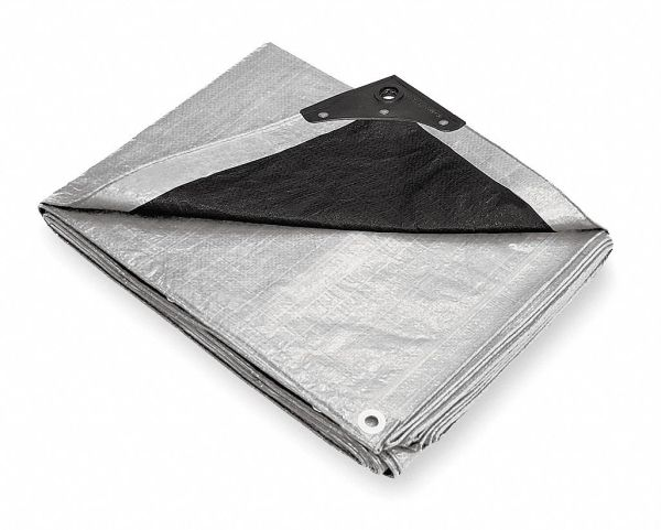 Grainger Approved 10.5 Mil Polyethylene Waterproof Tarp Silver Black 15 Ft. 2