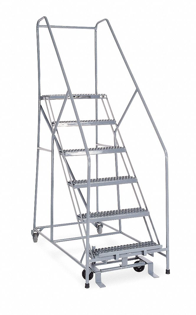 COTTERMAN 6-Step Rolling Ladder, Serrated Step Tread, 90
