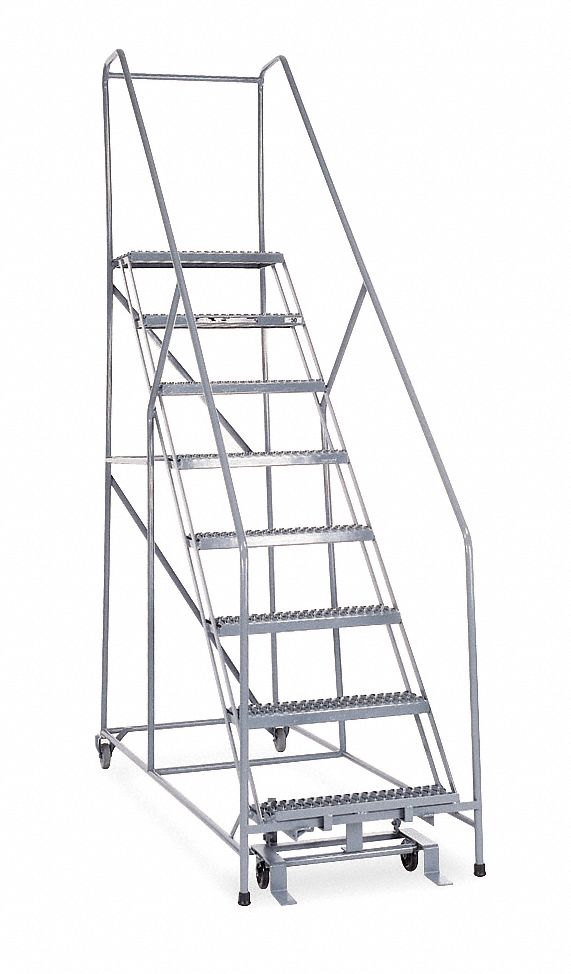 COTTERMAN 8-Step Rolling Ladder, Serrated Step Tread, 110