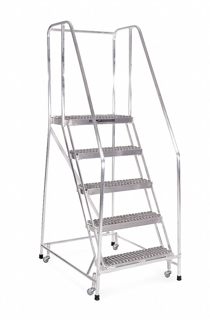COTTERMAN 5-Step Rolling Ladder, Serrated Step Tread, 80