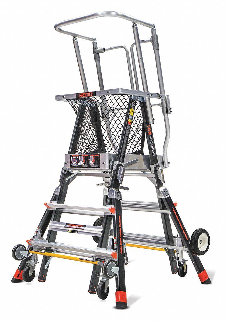 LITTLE GIANT Fiberglass Safety Cage Platform Ladder, 3 ft