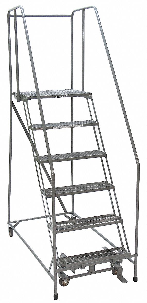 COTTERMAN 6-Step Rolling Ladder, Perforated Step Tread, 90