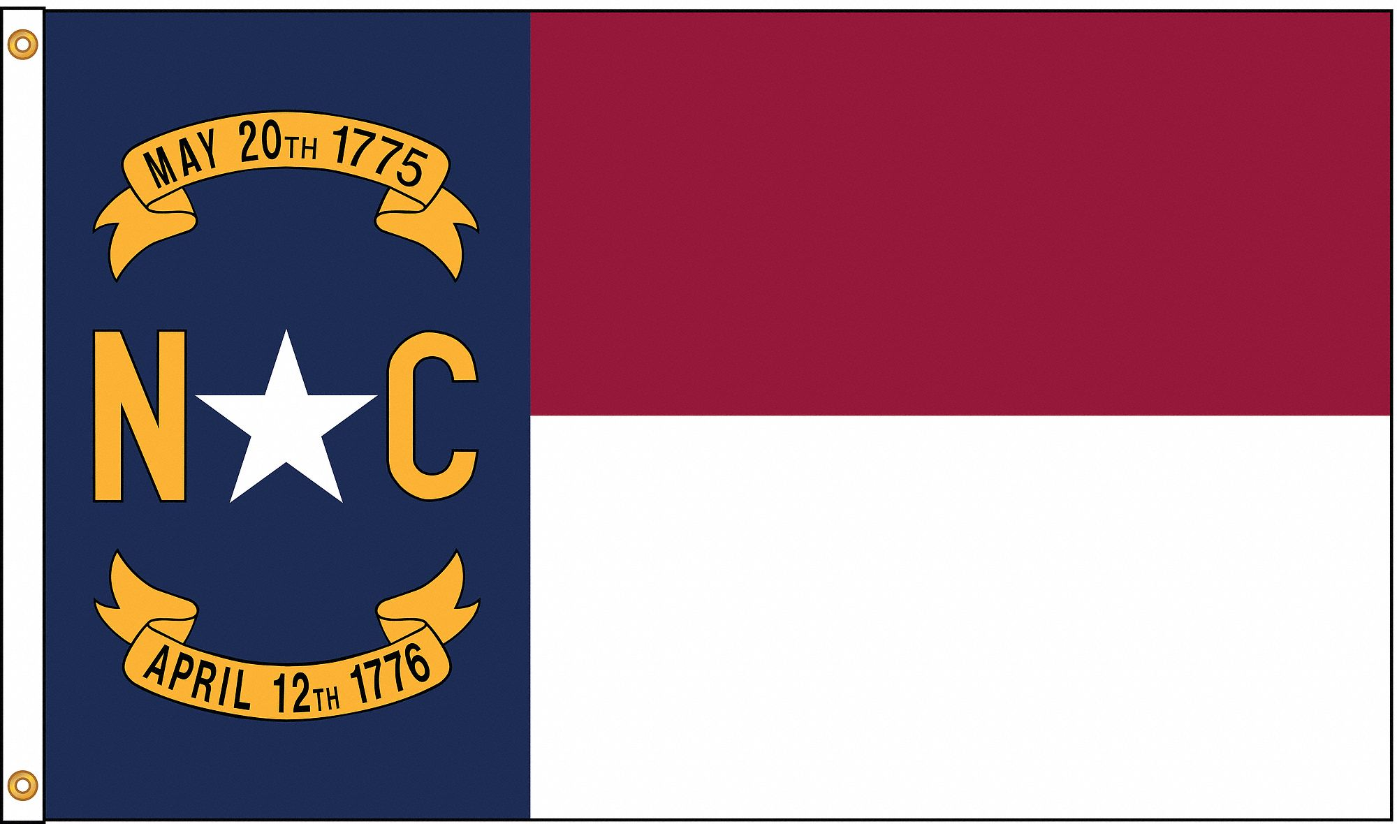 NYLGLO North Carolina State Flag 4 FtH X 6 FtW Indoor