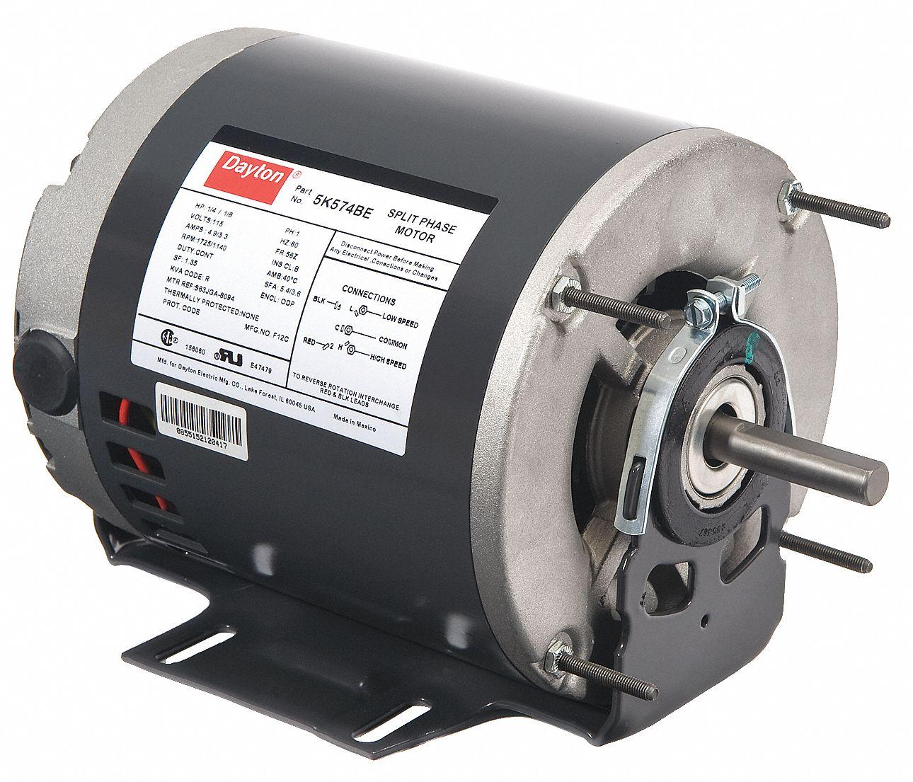 hight resolution of dayton 1 4 1 8 hp general purpose motor split phase 1725 1140 nameplate rpm voltage 115 frame 56z 5k574 5k574 grainger