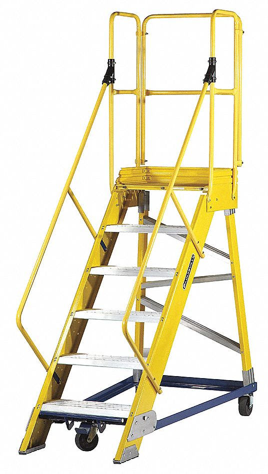 LOUISVILLE 6 Step Rolling Ladder Serrated Step Tread 99