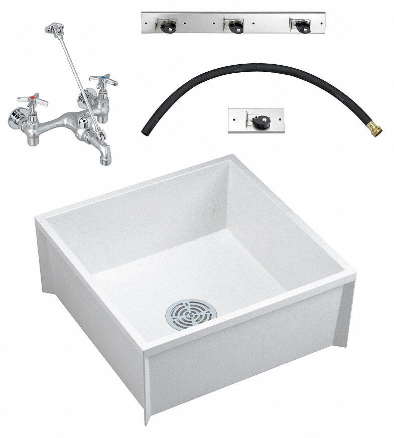 sink 24x24x10in floor mop cw faucet