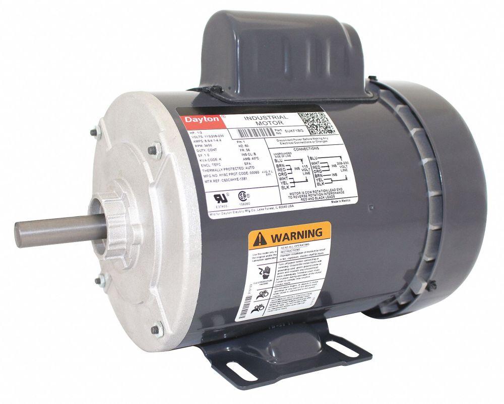 medium resolution of dayton 1 2 hp general purpose motor capacitor start 3450 nameplate rpm voltage 115 208 230 frame 56 5ukf1 5ukf1 grainger
