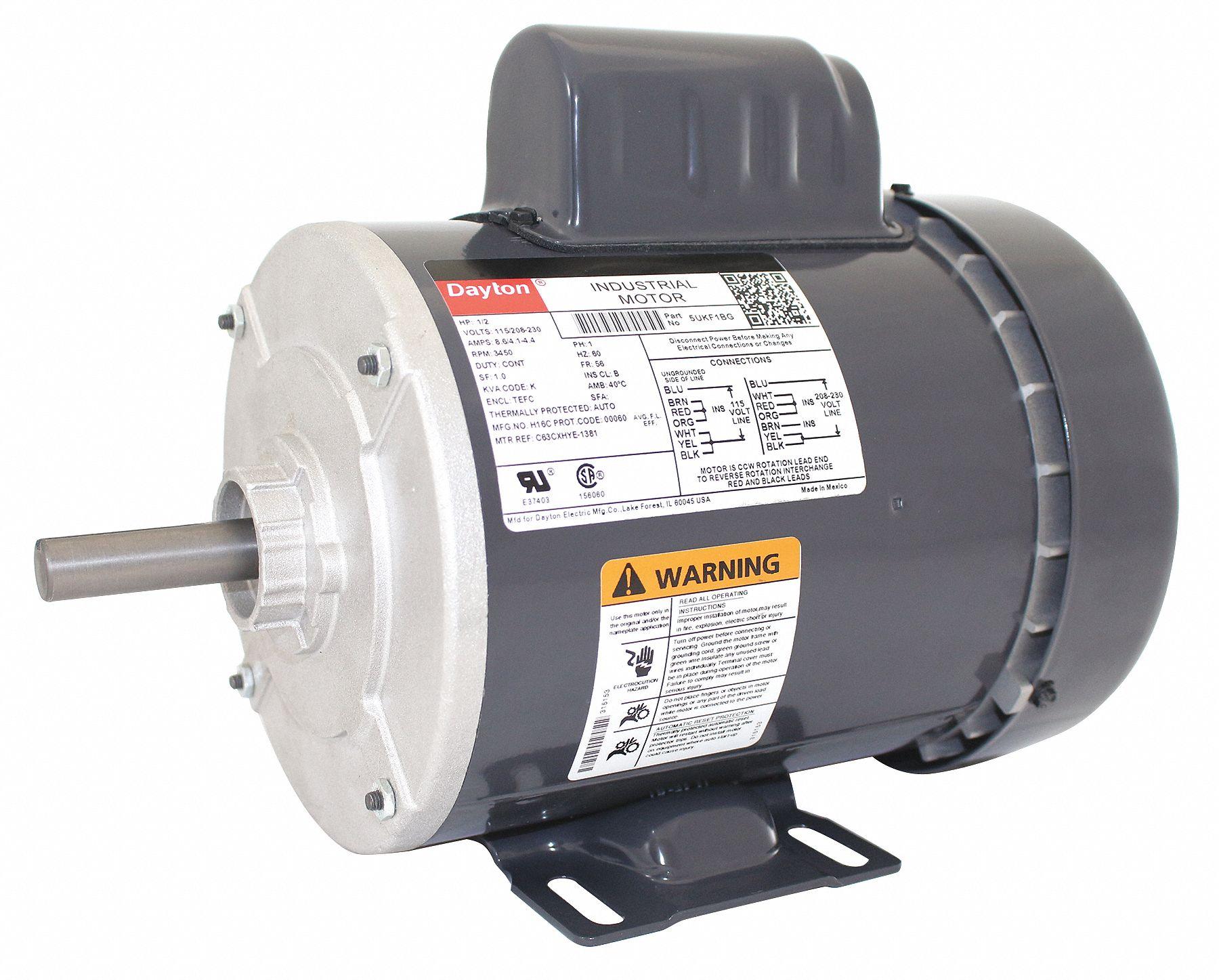 hight resolution of dayton 1 2 hp general purpose motor capacitor start 3450 nameplate rpm voltage 115 208 230 frame 56 5ukf1 5ukf1 grainger