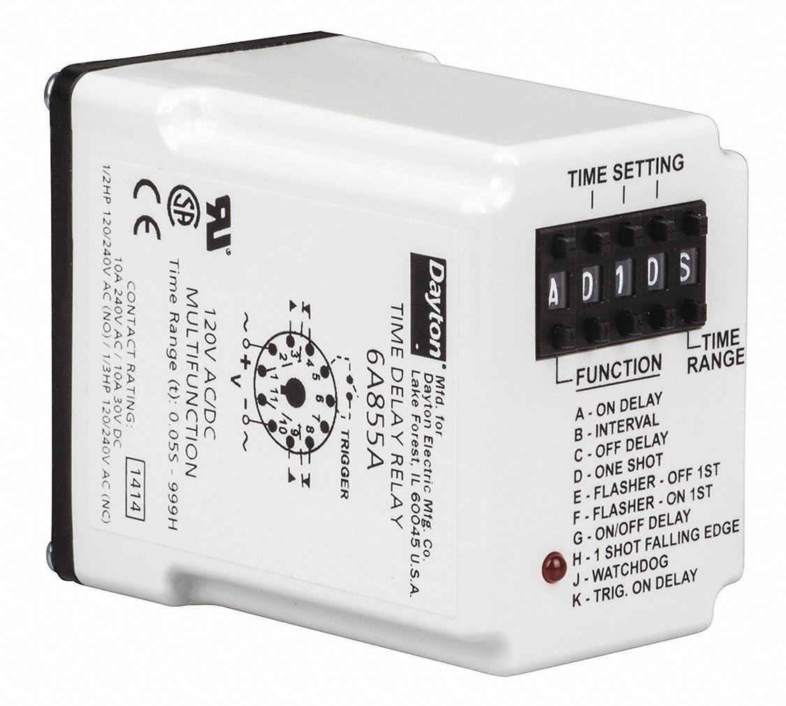 zmmain dayton time delay relay 120vac 10a dpdt 6a855 [ 1000 x 1000 Pixel ]