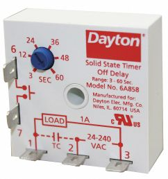 dayton single function encapsulated timing relay 24 to 240vac mounting surface spst no 6a858 6a858 grainger [ 1243 x 1290 Pixel ]