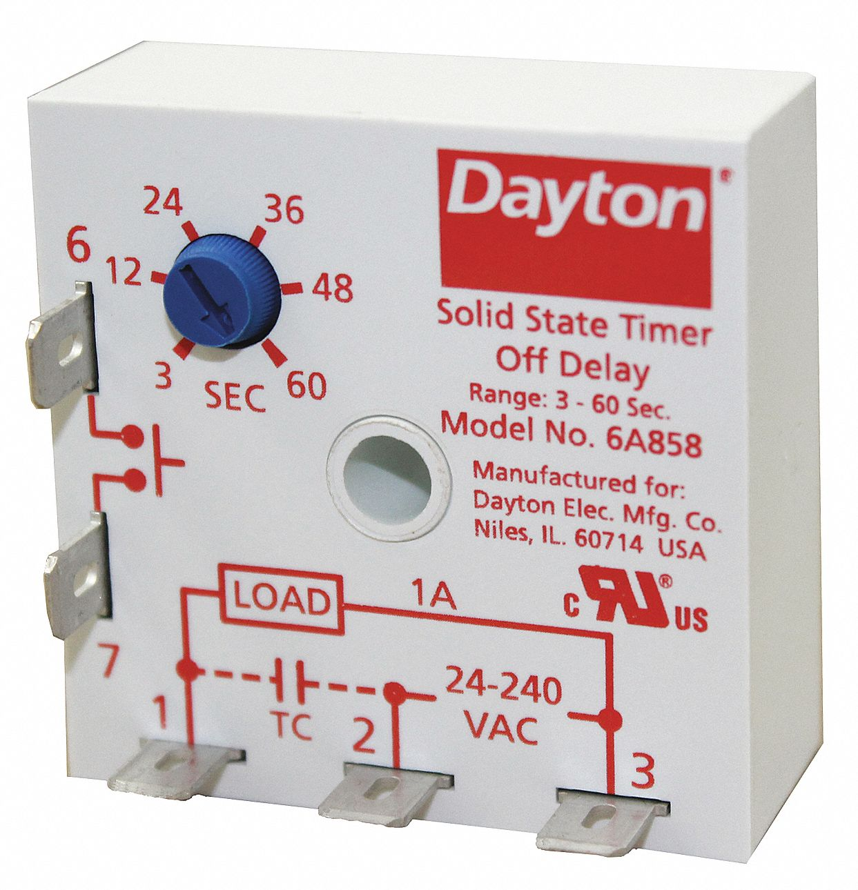 hight resolution of dayton single function encapsulated timing relay 24 to 240vac mounting surface spst no 6a858 6a858 grainger