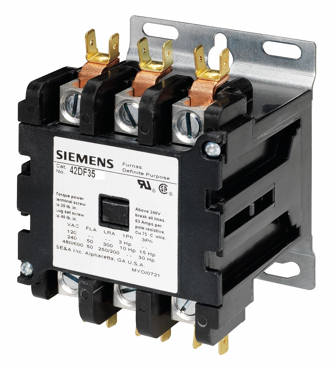 hight resolution of siemens 120vac contactor no of poles 3 50 full load amps inductive 6drj7 42df35af grainger