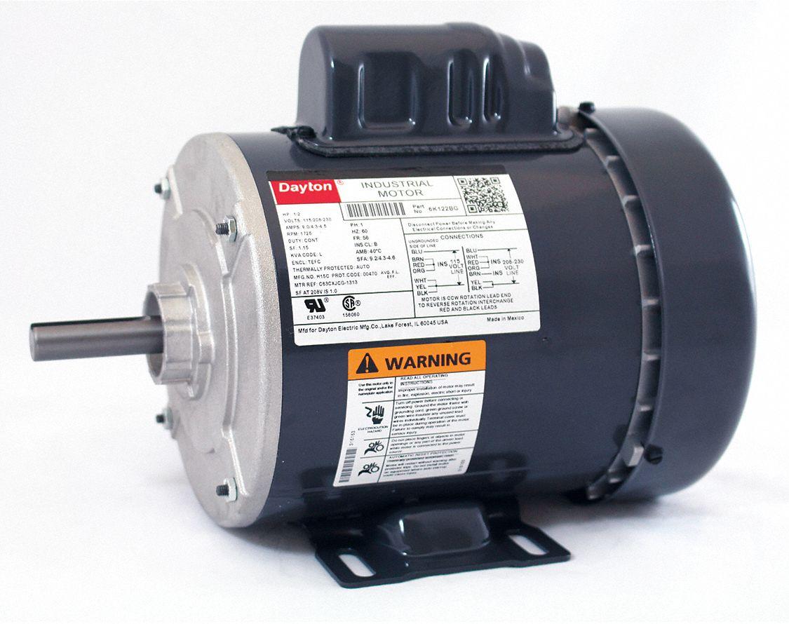 hight resolution of dayton 1 2 hp general purpose motor capacitor start 1725 nameplate 220 electric motor wiring diagram dayton capacitor start motor wiring