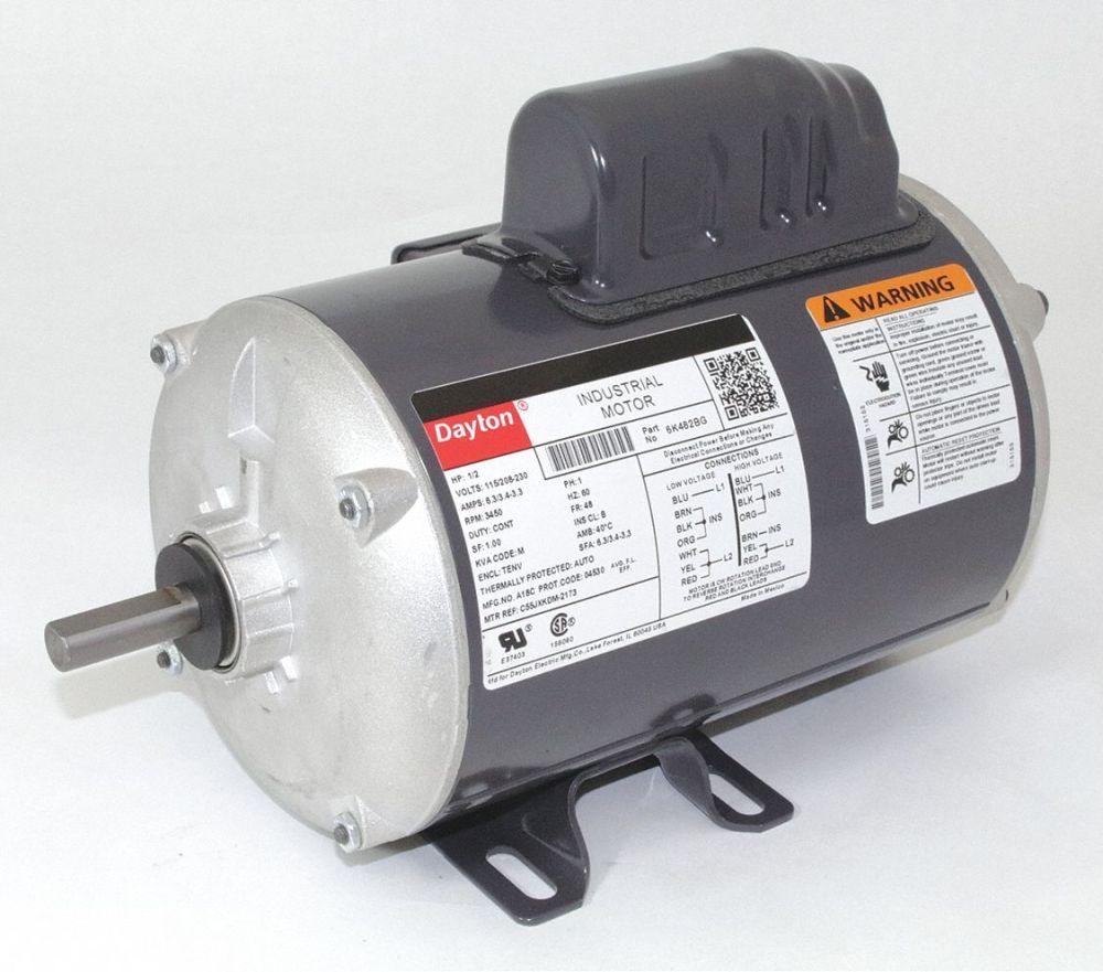 medium resolution of dayton 1 2 hp general purpose motor capacitor start 3450 nameplate rpm voltage 115 208 230 frame 48 6k482 6k482 grainger