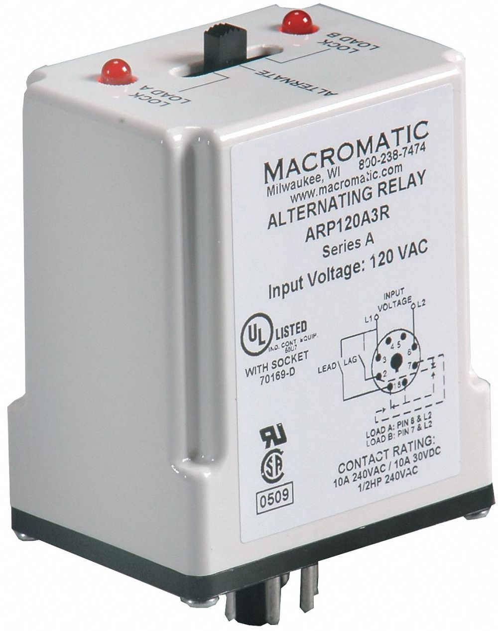 medium resolution of macromatic alternating relay 120vac 10a 240v 10a 28v octal base type 8 pins 3 0va dpdt cross wired 6mpn9 arp120a3r grainger