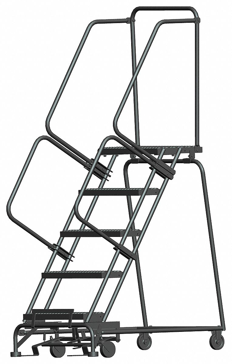 BALLYMORE 5-Step Rolling Ladder, Serrated Step Tread, 83
