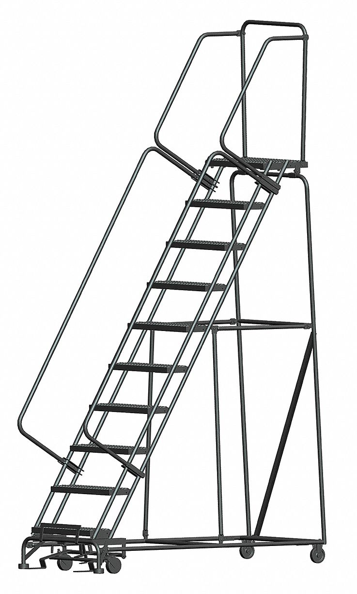 BALLYMORE 10-Step Rolling Ladder, Serrated Step Tread, 133