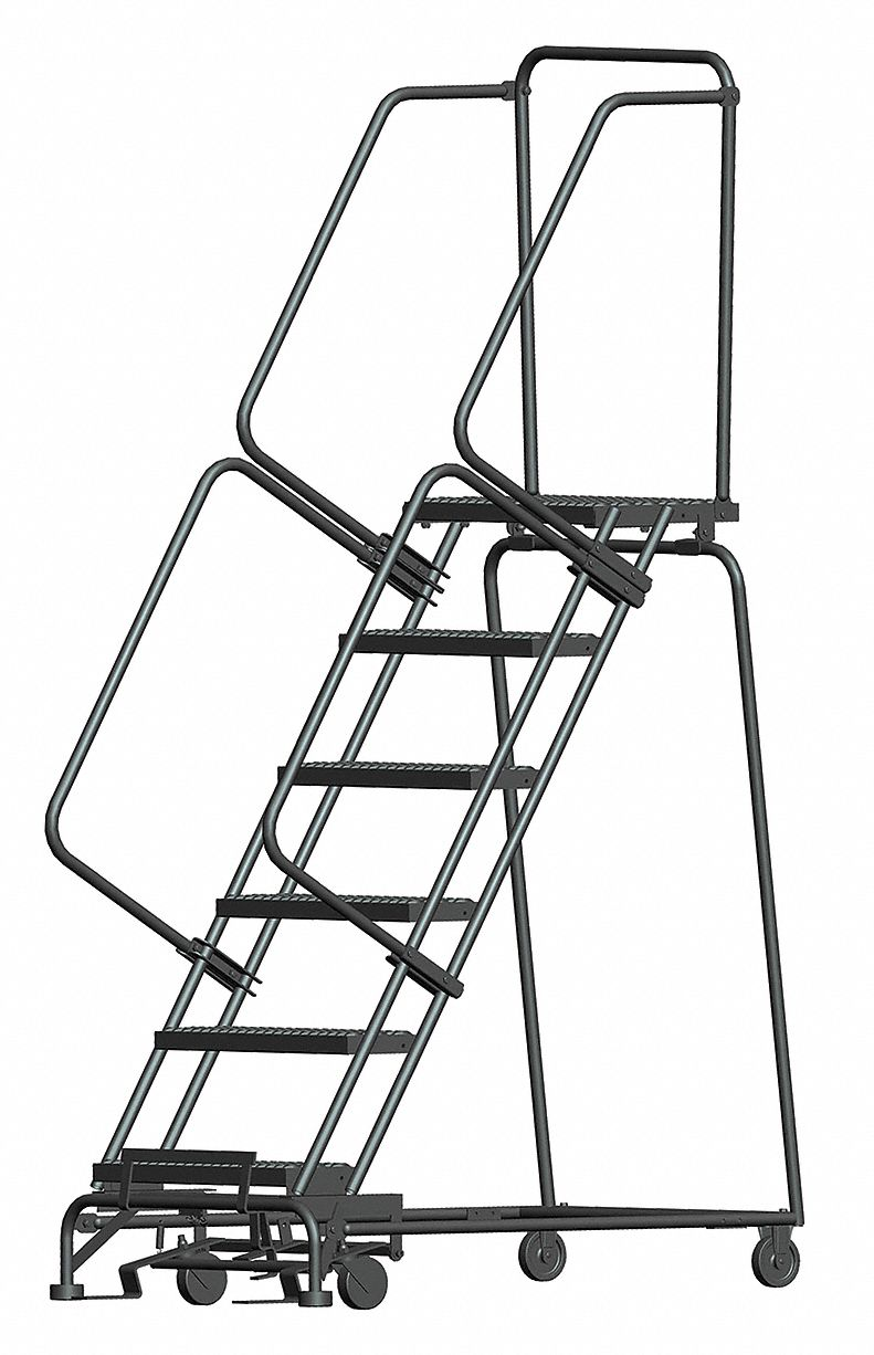 BALLYMORE 6-Step Rolling Ladder, Serrated Step Tread, 93