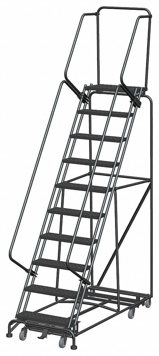 BALLYMORE 10-Step Rolling Ladder, Perforated Step Tread