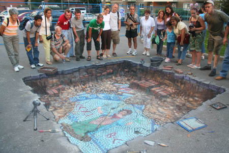Julian Beever Archeological Dig Drawing